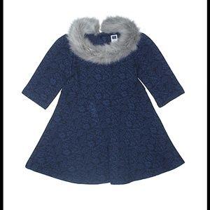 JANIE AND JACK DRESS BLUE FUR COLLAR 5